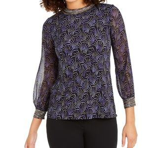 Alfani Petite Printed Bead Embellished-Neck Top